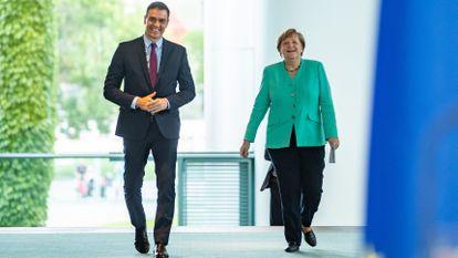 Sánchez y Merkel, este martes en Berlín.