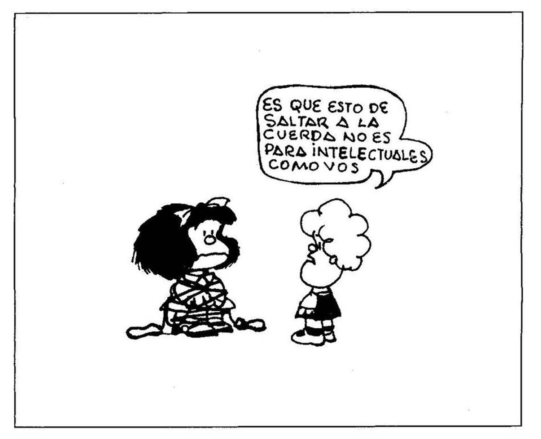 Viñeta cómica de 'Mafalda', donde aparecen ella y Susana dibujadas por Quino.