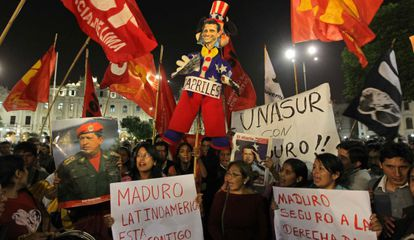 Manifestación de chavistas, este jueves en Lima.