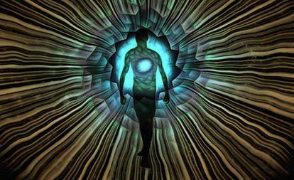 Silueta de un hombre rodeado de rayos de luz.
