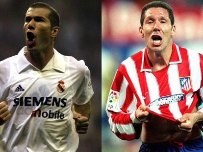 Zidane (i) y Simeone en su época de jugador.