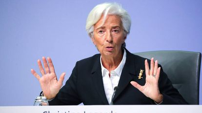 La presidenta del BCE, Christine Lagarde, este jueves en Fráncfort.