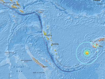 Epicentro del terremoto de este martes en Fiyi.