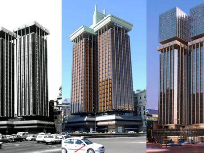 De izquierda a derecha, las Torres Colón como las proyectó Antonio Lamela en los setenta, el aspecto actual del edificio con el ínclito 'enchufe' art déco, y el diseño de Luis Vidal para la ampliación que ya se está llevando a cabo.  