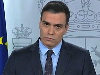 Pedro Sánchez, en su comparecencia de este sábado.