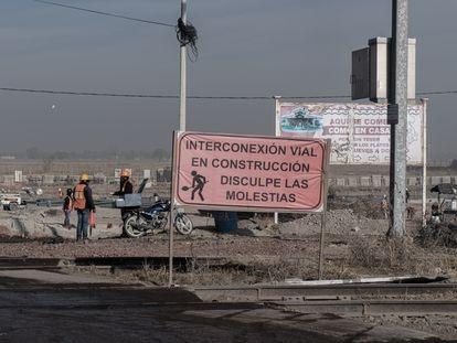 Obras de acceso al futuro Aeropuerto Internacional Felipe Ángeles.