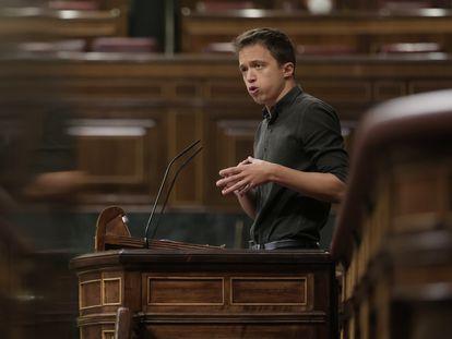 El líder de Más País, Íñigo Errejón, en una sesión plenaria de la Cámara Baja.