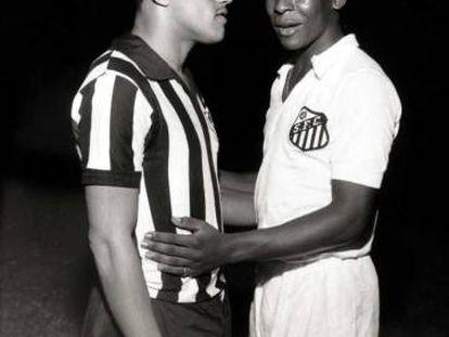 Garrincha y Pelé, con el Botafogo y el Santos, en el Trofeo Teresa Herrera de 1959.