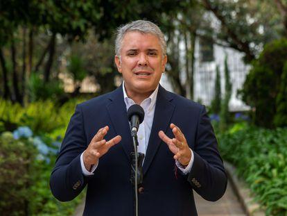 El presidente Iván Duque durante una alocución desde la Casa de Nariño, el 9 de mayo de 2021.