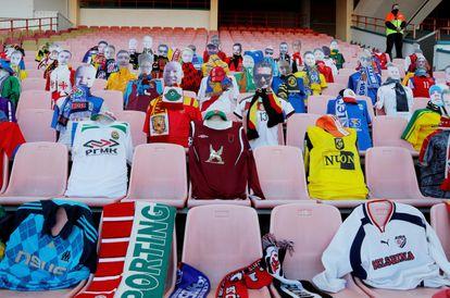 Maniquíes en un estadio de Bielorrusia.