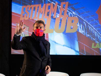 El candidato a la presidencia del FC Barcelona Joan Laporta en un acto de la campaña.