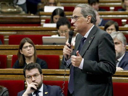 El presidente de la Generalitat, Quim Torra, este miércoles en el Parlament. En vídeo, audio de la entrevista de Catalunya Ràdio a Pere Aragonès.