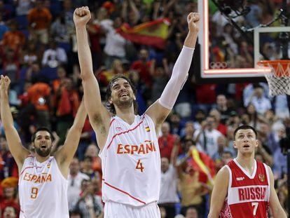 Pau Gasol celebra el triunfo ante Rusia y la clasificación de España para la final de los Juegos de 2012.