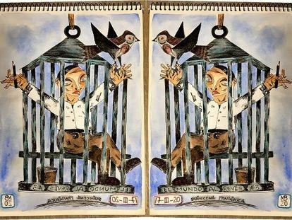 """Composición de la imagen """"Lo que se dice volar…""""."""
