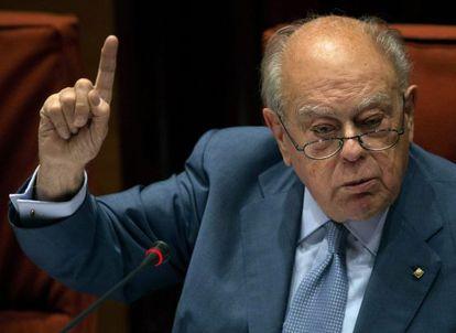 El expresidente Jordi Pujol durante su comparecencia en el Parlament
