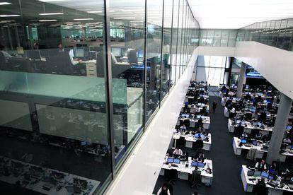 Interior de la moderna Ciudad BBVA en Las Tablas (Madrid).