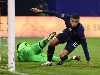 Mbappé, tras anotar el 1-2 ante Croacia.