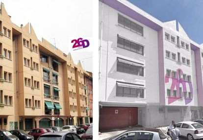 El antes y el después de la sede de la nueva residencia LGTBI.