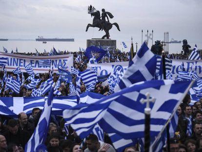 Manifestación contra el uso del nombre Macedonia por Skopje, el día 21 en Salónica.