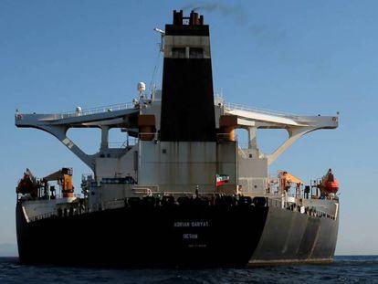 El petrolero Adrian Darya 1, antes llamado Grace 1, en el Estrecho de Gibraltar.