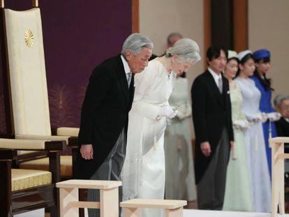 Ceremonia de abdicación, este martes en Tokio.