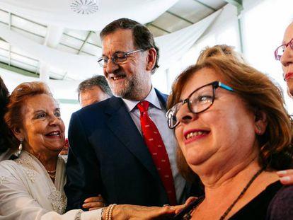 Mariano Rajoy, este lunes tras su acto en Badajoz.