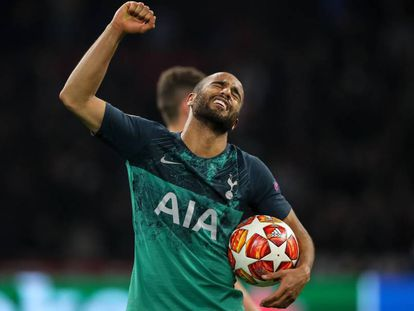 Lucas Moura celebra la clasificación del Tottenham para la final de la Champions.