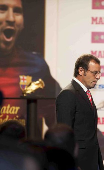 Rosell, durante la entrega de la Bota de Oro a Messi.