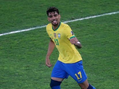 El brasileño Lucas Paquetá celebra un gol contra Perú, en las semifinales de la Copa América.