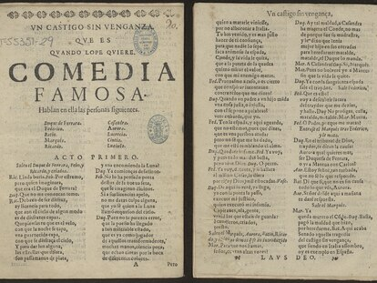 """Las primeras páginas del ejemplar """"pirata"""" de 'El castigo sin venganza' que reposa en la Biblioteca Nacional."""