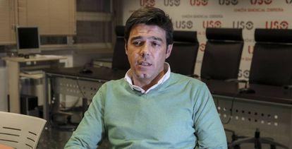 El secretario general de USO, Joaquín Pérez, durante la entrevista
