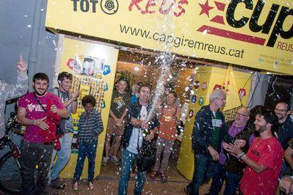 La CUP de Reus celebra su ascenso electoral.