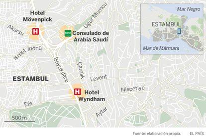 Localicación del consulado y dos hoteles cercanos en los que se alojaron los saudíes presuntamente enviados por Riad.