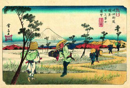 Ilustración del libro 'Las sesenta y nueve estaciones del Kisokaido'.