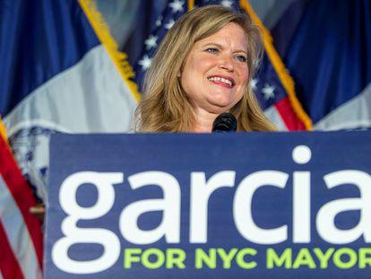 Kathryn Garcia, durante la celebración de la noche electoral en Brooklyn (Nueva York), el pasado 22 de junio.