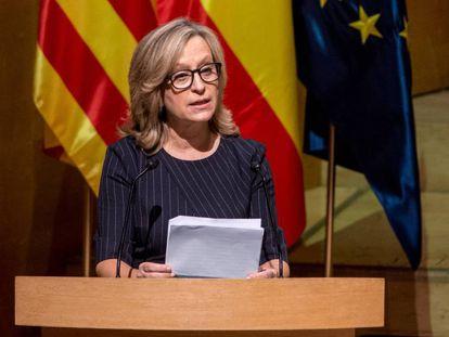 Gema Espinosa en un acto en Barcelona.