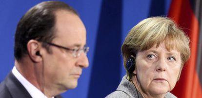 Hollande y Merkel, durante un encuentro en Berlín.