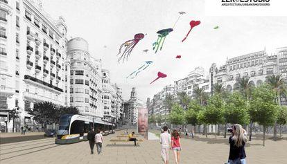 Recreación virtual del proyecto en la plaza del Ayuntamiento de Valencia.