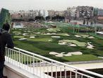 Campo de entrenamiento de golf en las instalaciones del Canal de Isabel II en Chamberí.