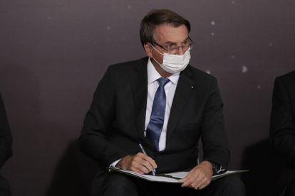 El presidente Bolsonaro, este martes durante la firma en Brasilia de un acuerdo de cooperación entre la NASA y su Gobierno.