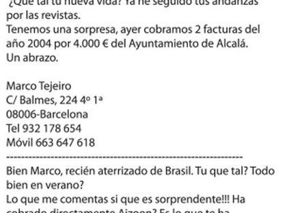 """""""Ayer cobramos dos facturas de Alcalá"""""""