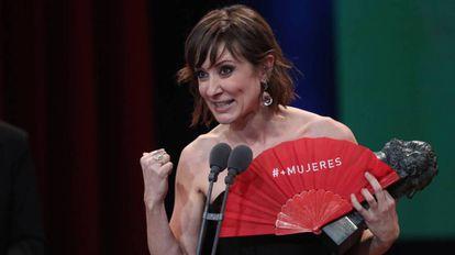 Nathalie Poza, ganadora del Goya 2018 a la mejor actriz protagonista, en un momento de la gala.