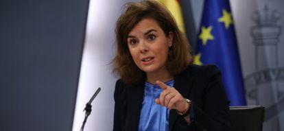 La vicepresidenta Soraya Sáenz de Santamaría, tras el Consejo de Ministros celebrado el pasado 28 de noviembre.