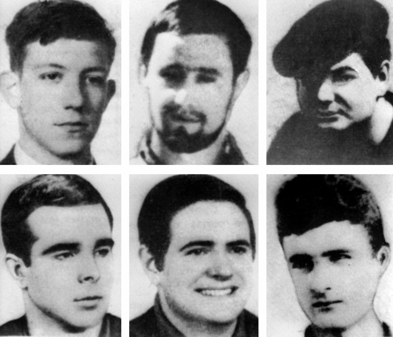 Los seis condenados a muerte. De izquierda a derecha y de arriba a abajo: Eduardo Uriarte, José María Dorronsoro, Mario Onaindía, Jokin Gorostidi, Francisco Javier Izko y Javier Larena.