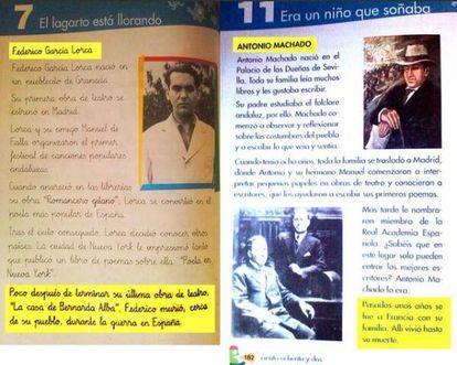 Las páginas del libro de texto de Anaya.