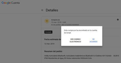 Notificación de Google sobre la localización de la información.