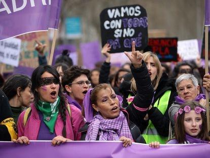 Manifestación del 8-M en Madrid en 2020.
