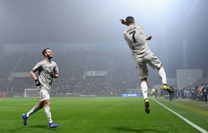 Cristiano celebra un gol contra el Sassuolo en Reggio nell'Emilia.