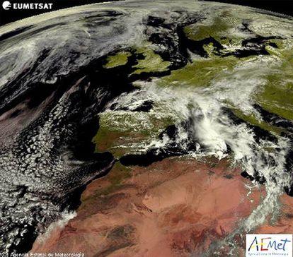 Imagen de la península Ibérica tomada por el satélite meteosat para la Aemet.