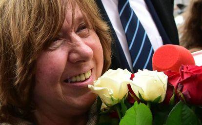 La Nobel bielorrusa Svetlana Alexievich, este jueves en Minsk